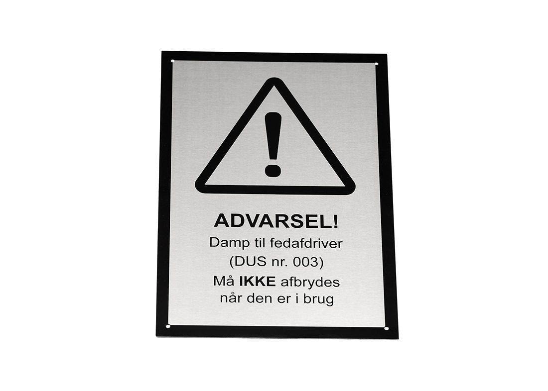 Advarsel skilt i stål - industriel brug