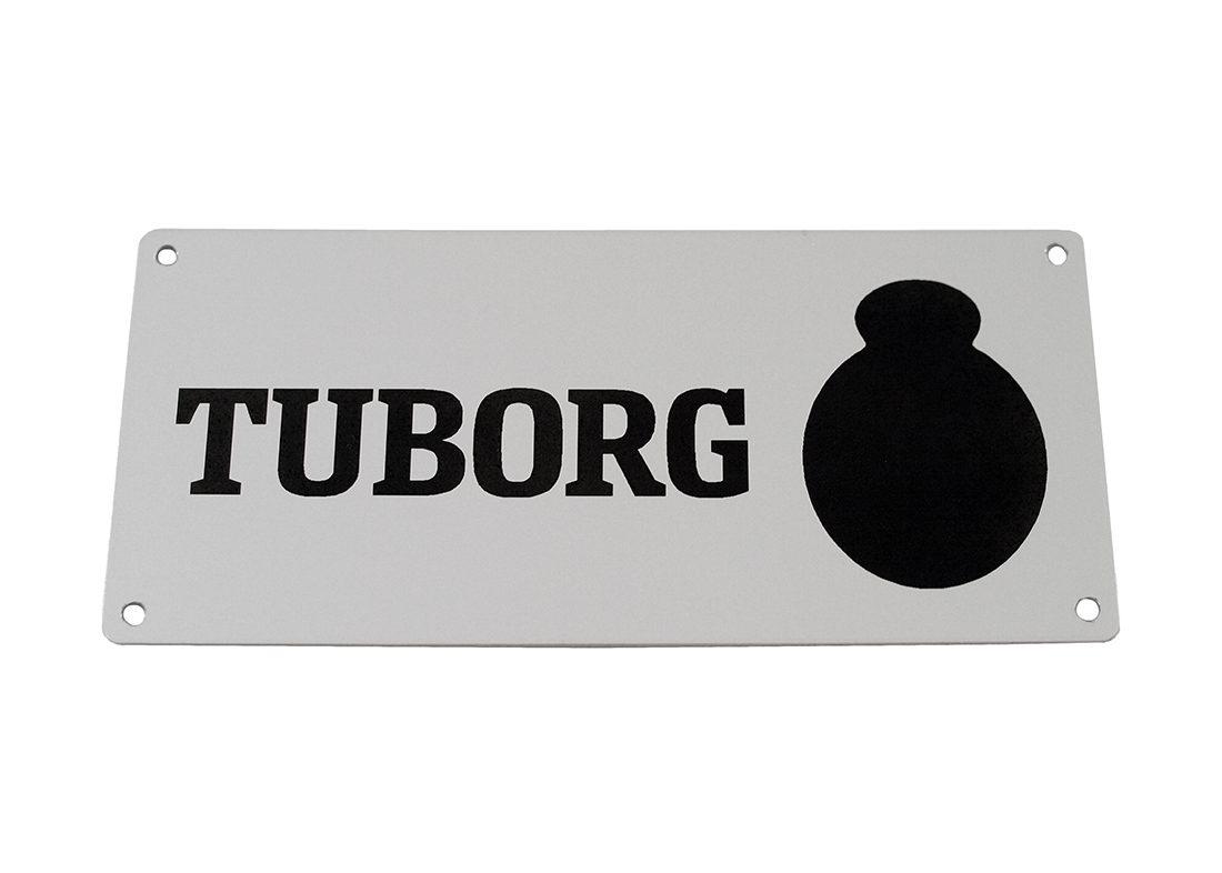 Aluskilt i grå med logo