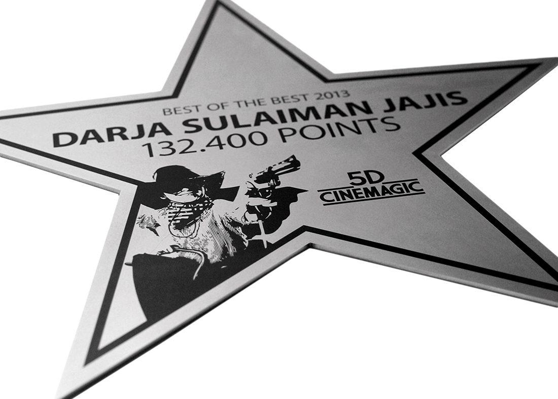 Stjerneformet award skilt med indgravering