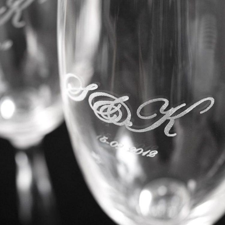 Gravering champagne glas
