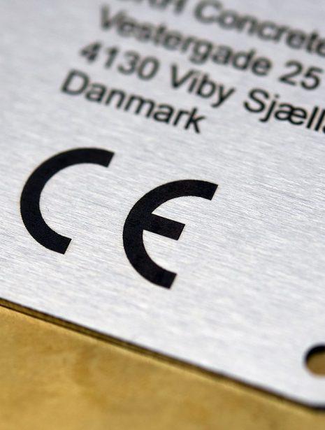 Industri skilt til CE mærkning med indgravering