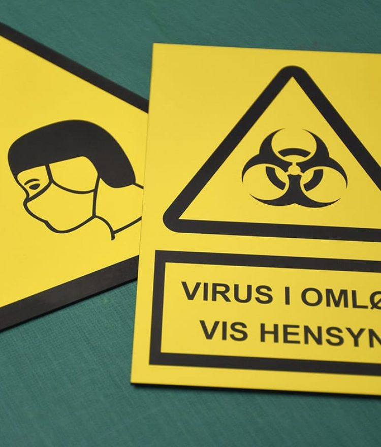 Plastikskilte Advarselsskilte forbudsskilte mod corona virus